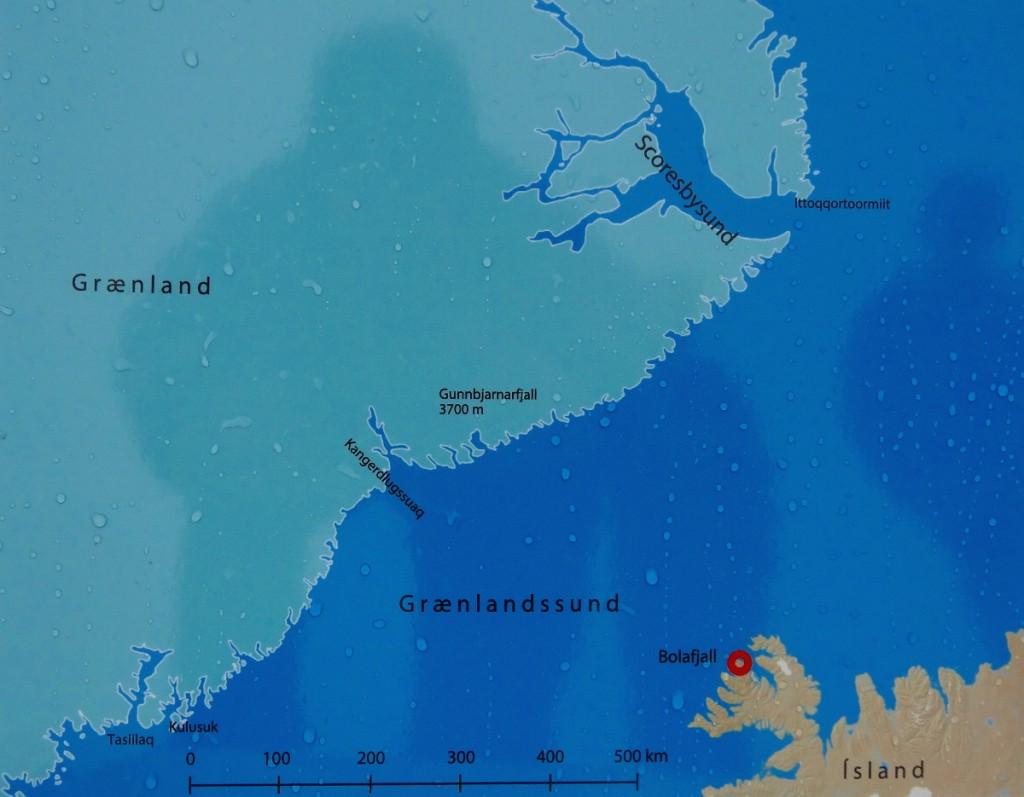 Die kleinste Distanz zwischen Island und Grönland beträgt weniger als 300 Kilometer.
