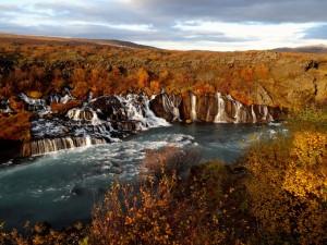 Lavawasserfälle in zauberhaften Herbstfarben. 16.09.2014