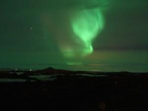 Nordlicht trotz schlechter Vorhersage. Myvatn 15.03.2015