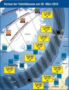 Sonnenfinsternis - Karte mit Zeitangaben, Thomas Baer Sternwarte Bülach