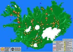 Auf der Strassenkarte von Vegagerdin sind viele Strecken noch rot. 20.06.2015