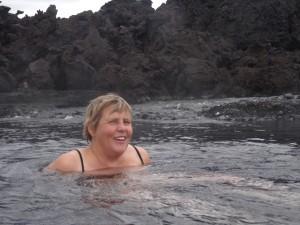 Einmalig - warmes Bad bei der neuen Lava in Holuhraun. 28.08.2015