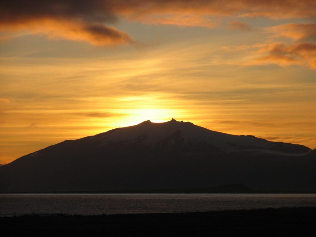 Sonnenuntergang am Snaefellsjökull. 22.09.2011