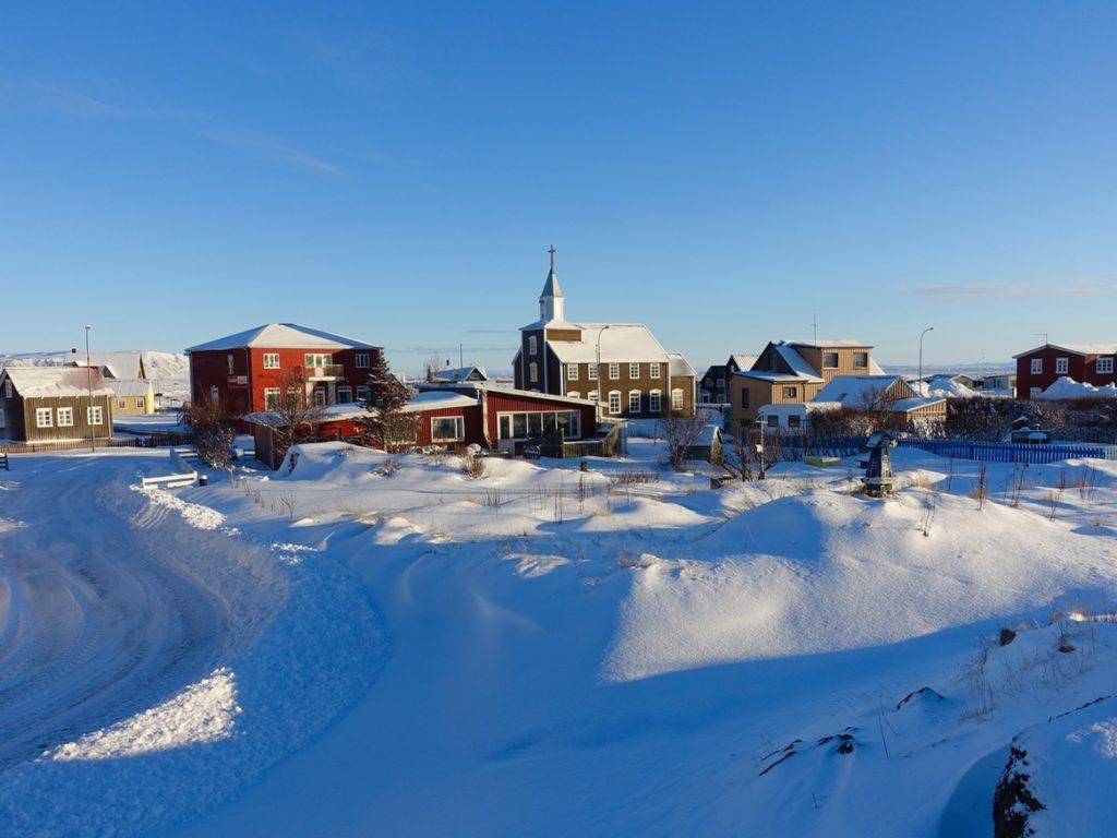 """Der Film """"Wecome to Iceland"""" startet und endet in Eyrarbakki. Winterbild 12.02.2016"""