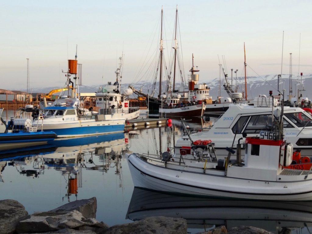 Der malerische Hafen von Husavik. 25.06.2013
